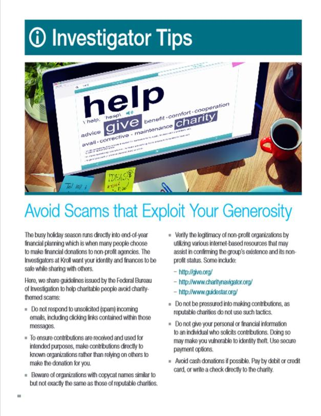 Avoid Scams that Exploit Your Generosity